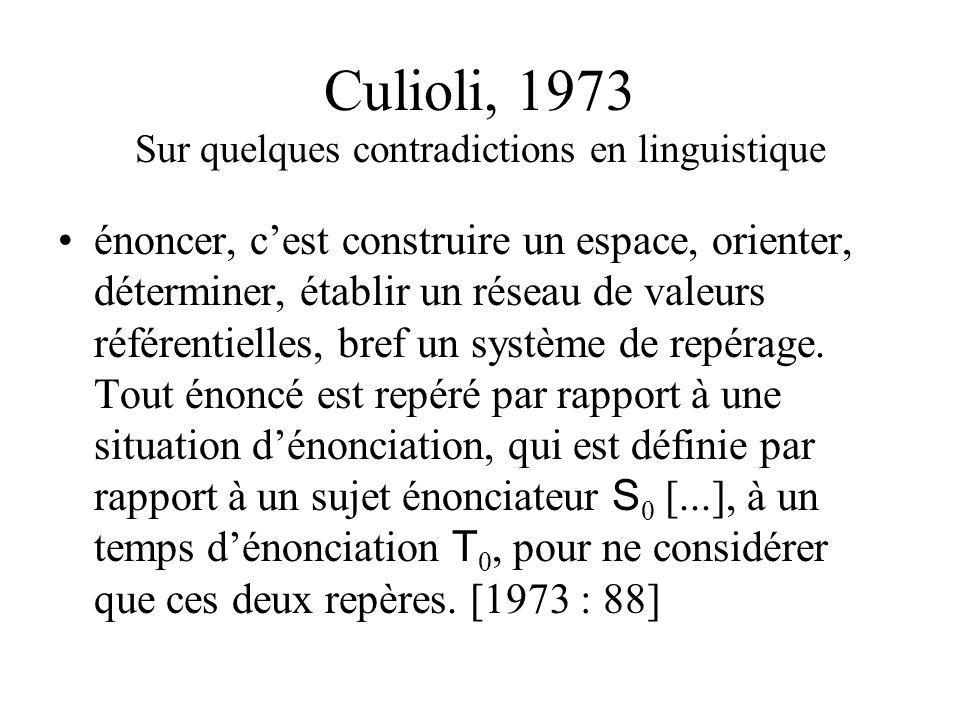 Benveniste dans lénonciation, la langue se trouve employée à lexpression dun certain rapport au monde [1970 : 82] Une troisième série de termes affére
