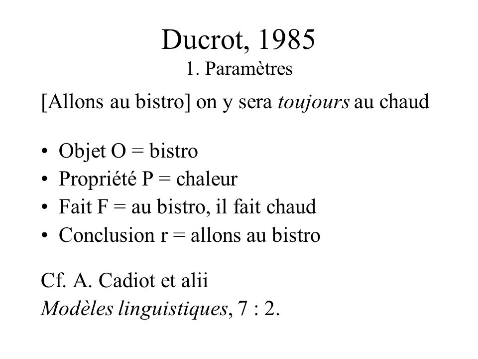 Ducrot, 1985 1.