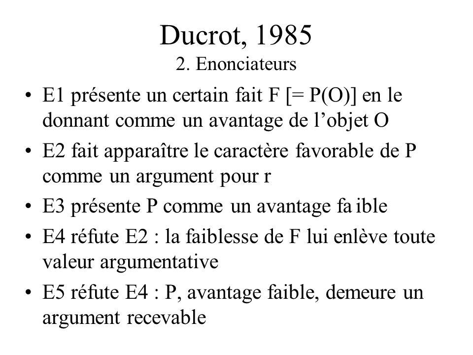 Ducrot, 1985 1. Paramètres [Allons au bistro] on y sera toujours au chaud Objet O = bistro Propriété P = chaleur Fait F = au bistro, il fait chaud Con
