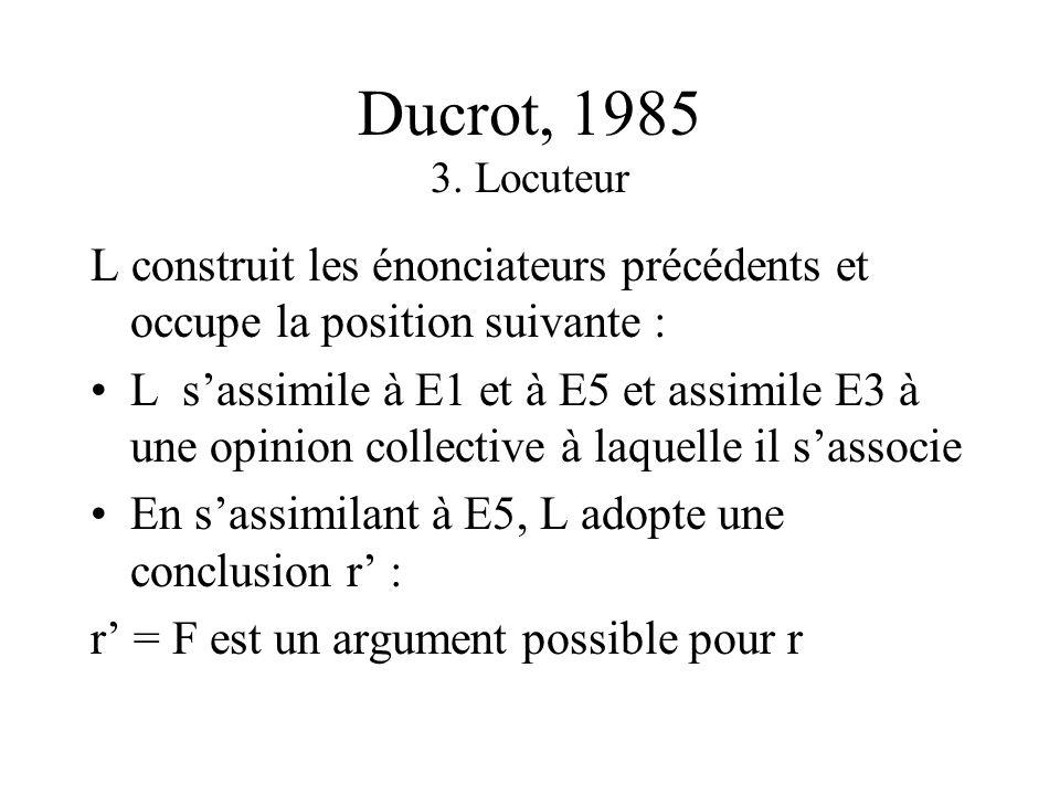 Ducrot, 1985 2. Enonciateurs E1 présente un certain fait F [= P(O)] en le donnant comme un avantage de lobjet O E2 fait apparaître le caractère favora