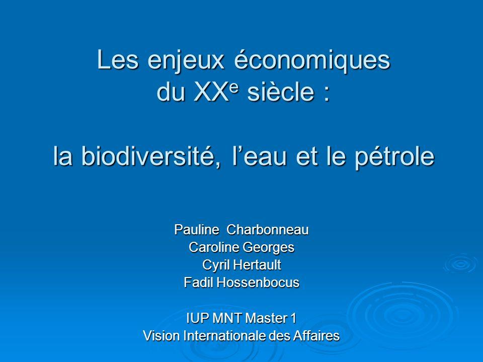 Les enjeux économiques du XX e siècle : la biodiversité, leau et le pétrole Pauline Charbonneau Caroline Georges Cyril Hertault Fadil Hossenbocus IUP