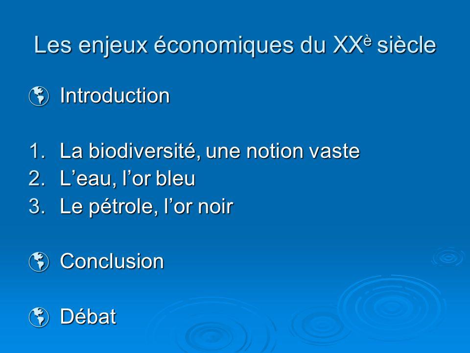 Les enjeux économiques du XX è siècle Introduction Introduction 1.La biodiversité, une notion vaste 2.Leau, lor bleu 3.Le pétrole, lor noir Conclusion