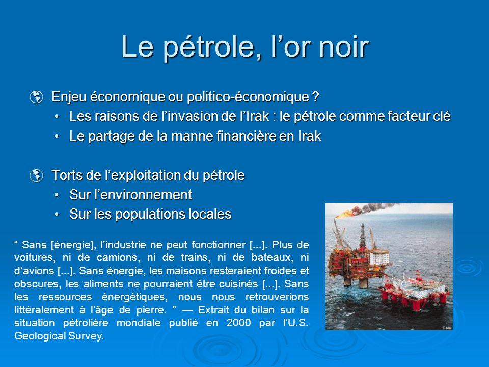 Le pétrole, lor noir Enjeu économique ou politico-économique ? Enjeu économique ou politico-économique ? Les raisons de linvasion de lIrak : le pétrol