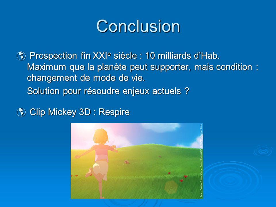 Conclusion Prospection fin XXI e siècle : 10 milliards dHab. Maximum que la planète peut supporter, mais condition : changement de mode de vie. Prospe