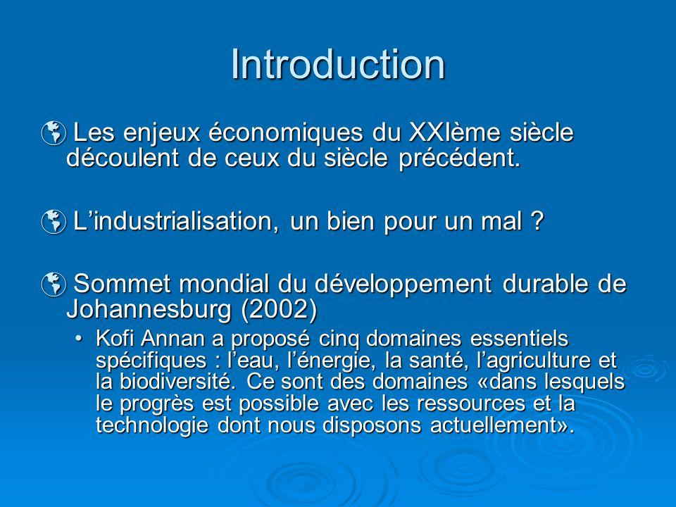 Introduction Les enjeux économiques du XXIème siècle découlent de ceux du siècle précédent. Les enjeux économiques du XXIème siècle découlent de ceux