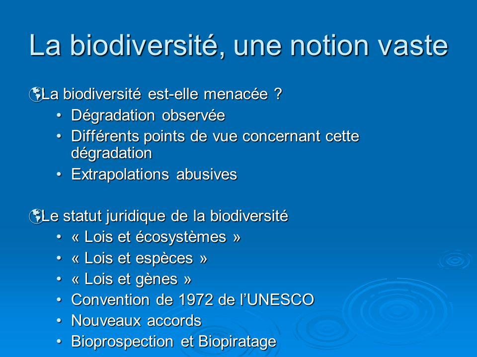 La biodiversité, une notion vaste La biodiversité est-elle menacée ? La biodiversité est-elle menacée ? Dégradation observéeDégradation observée Diffé