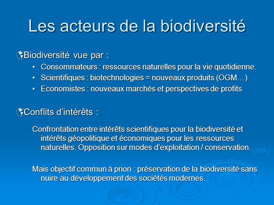 Biodiversité vue par : Biodiversité vue par : Consommateurs : ressources naturelles pour la vie quotidienne.Consommateurs : ressources naturelles pour