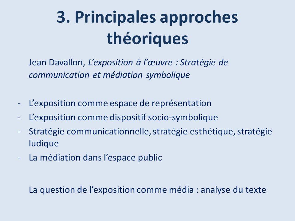 3. Principales approches théoriques Jean Davallon, Lexposition à lœuvre : Stratégie de communication et médiation symbolique -Lexposition comme espace