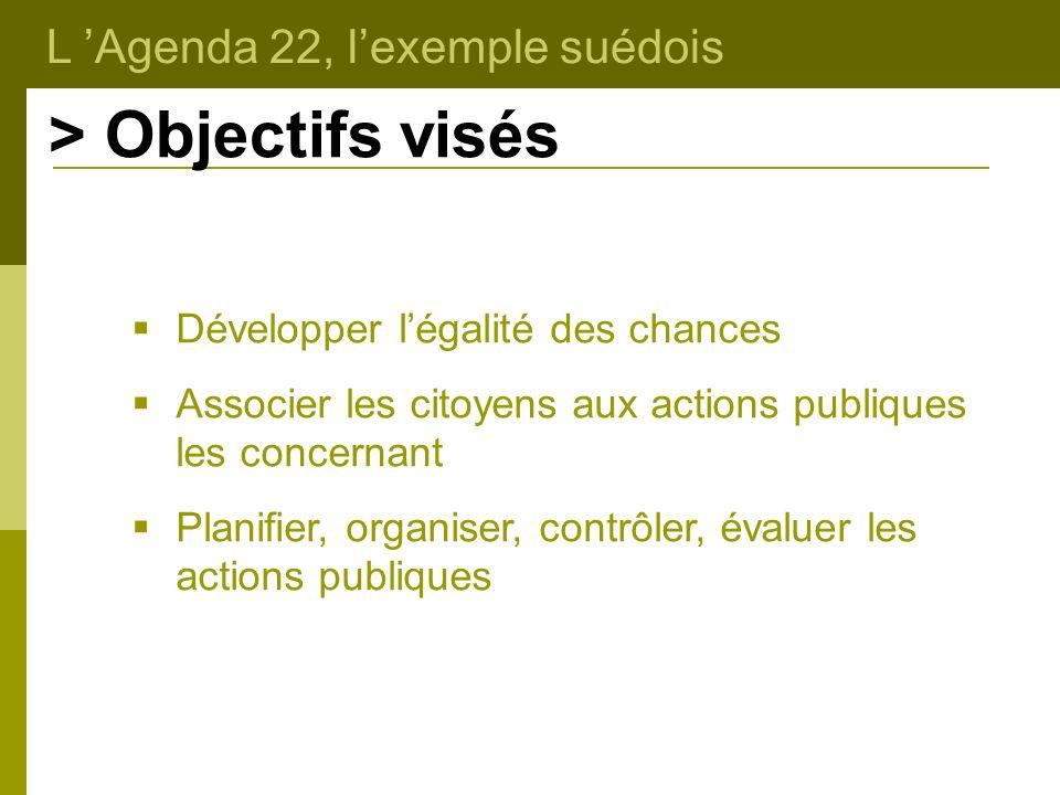 L Agenda 22, lexemple suédois > Objectifs visés Développer légalité des chances Associer les citoyens aux actions publiques les concernant Planifier,