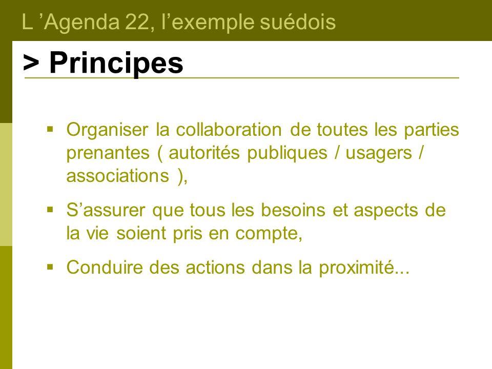 L Agenda 22, lexemple suédois > Principes Organiser la collaboration de toutes les parties prenantes ( autorités publiques / usagers / associations ),