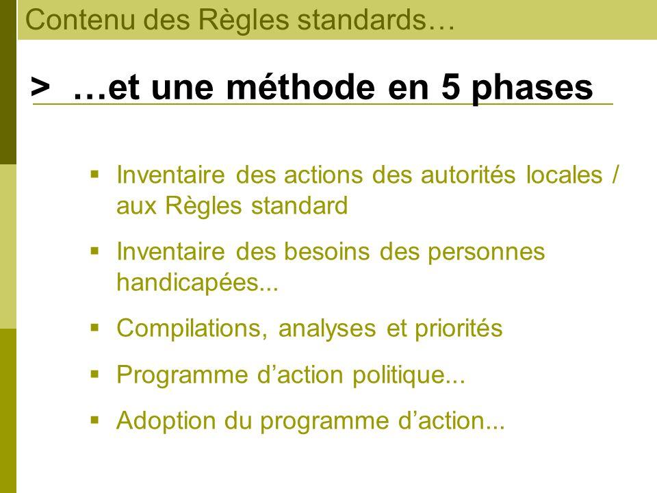 Contenu des Règles standards… > …et une méthode en 5 phases Inventaire des actions des autorités locales / aux Règles standard Inventaire des besoins
