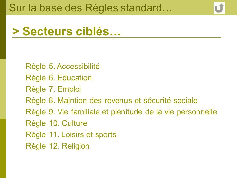Sur la base des Règles standard… Règle 5. Accessibilité Règle 6. Education Règle 7. Emploi Règle 8. Maintien des revenus et sécurité sociale Règle 9.