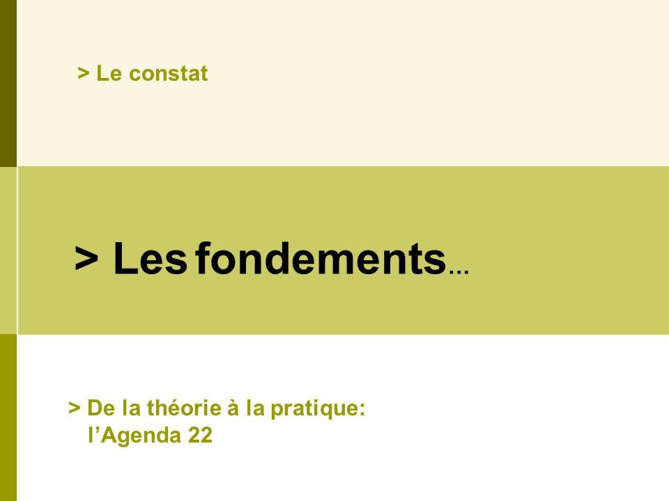 > Les fondements … > Le constat > De la théorie à la pratique: lAgenda 22