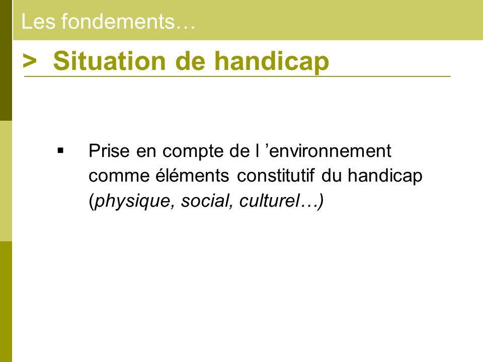 Les fondements… > Situation de handicap Prise en compte de l environnement comme éléments constitutif du handicap (physique, social, culturel…)