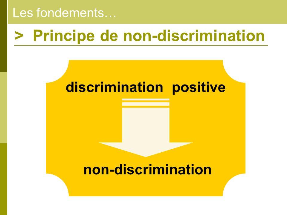 Les fondements… > Principe de non-discrimination discrimination positive non-discrimination