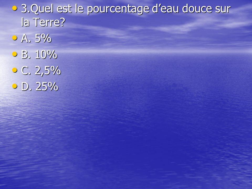 3.Quel est le pourcentage deau douce sur la Terre.