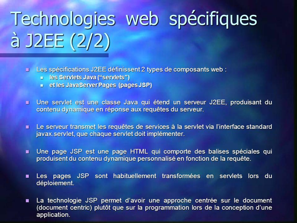 Technologies web spécifiques à J2EE (2/2) Les spécifications J2EE définissent 2 types de composants web : Les spécifications J2EE définissent 2 types