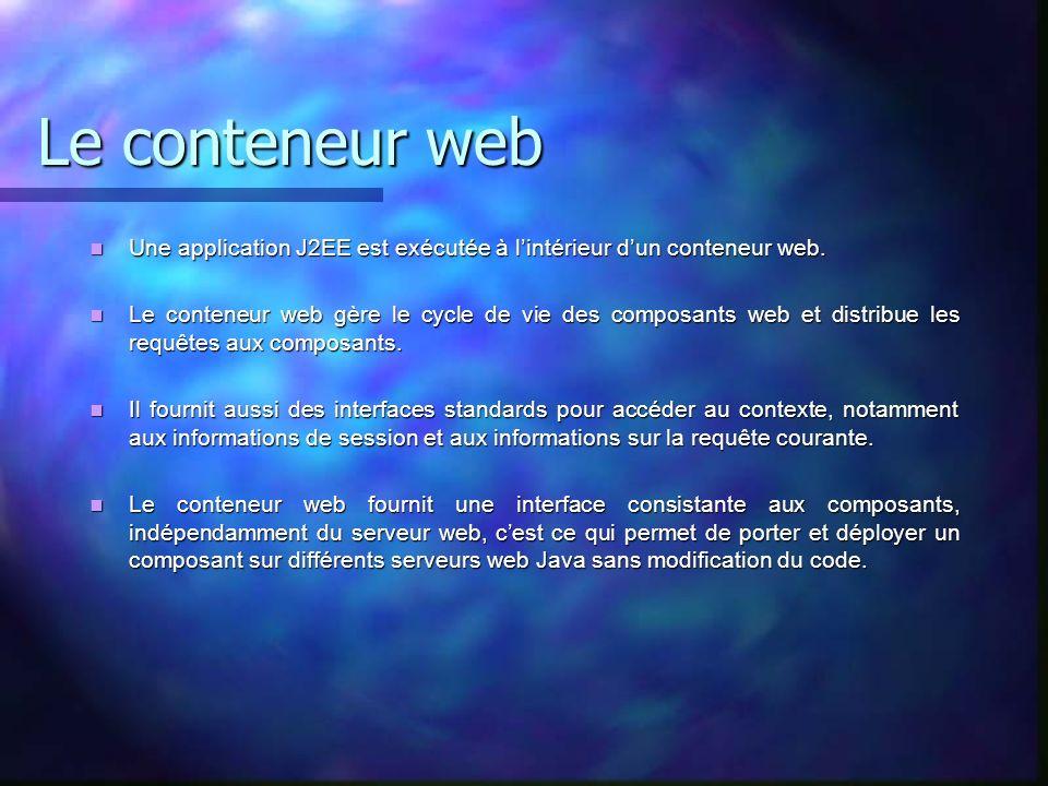 Le conteneur web Une application J2EE est exécutée à lintérieur dun conteneur web. Une application J2EE est exécutée à lintérieur dun conteneur web. L