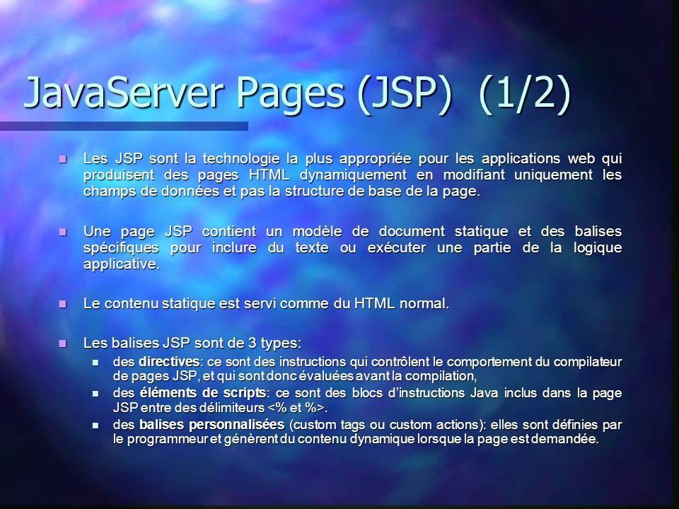JavaServer Pages (JSP) (1/2) Les JSP sont la technologie la plus appropriée pour les applications web qui produisent des pages HTML dynamiquement en m