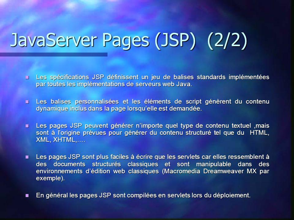 JavaServer Pages (JSP) (2/2) Les spécifications JSP définissent un jeu de balises standards implémentées par toutes les implémentations de serveurs we