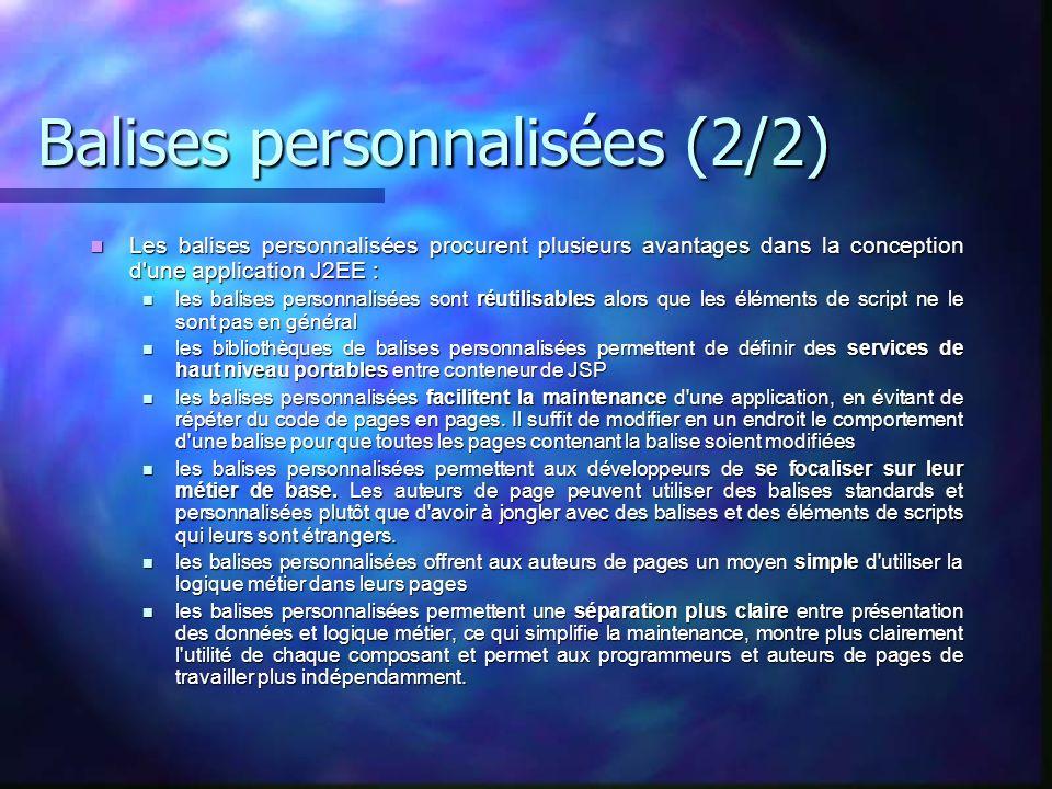 Balises personnalisées (2/2) Les balises personnalisées procurent plusieurs avantages dans la conception d'une application J2EE : Les balises personna