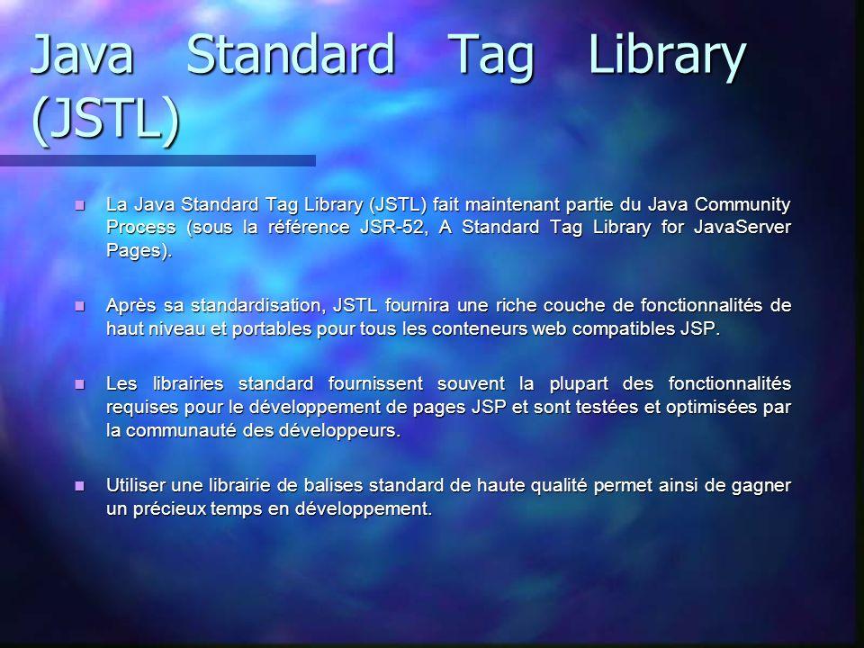Java Standard Tag Library (JSTL) La Java Standard Tag Library (JSTL) fait maintenant partie du Java Community Process (sous la référence JSR-52, A Sta