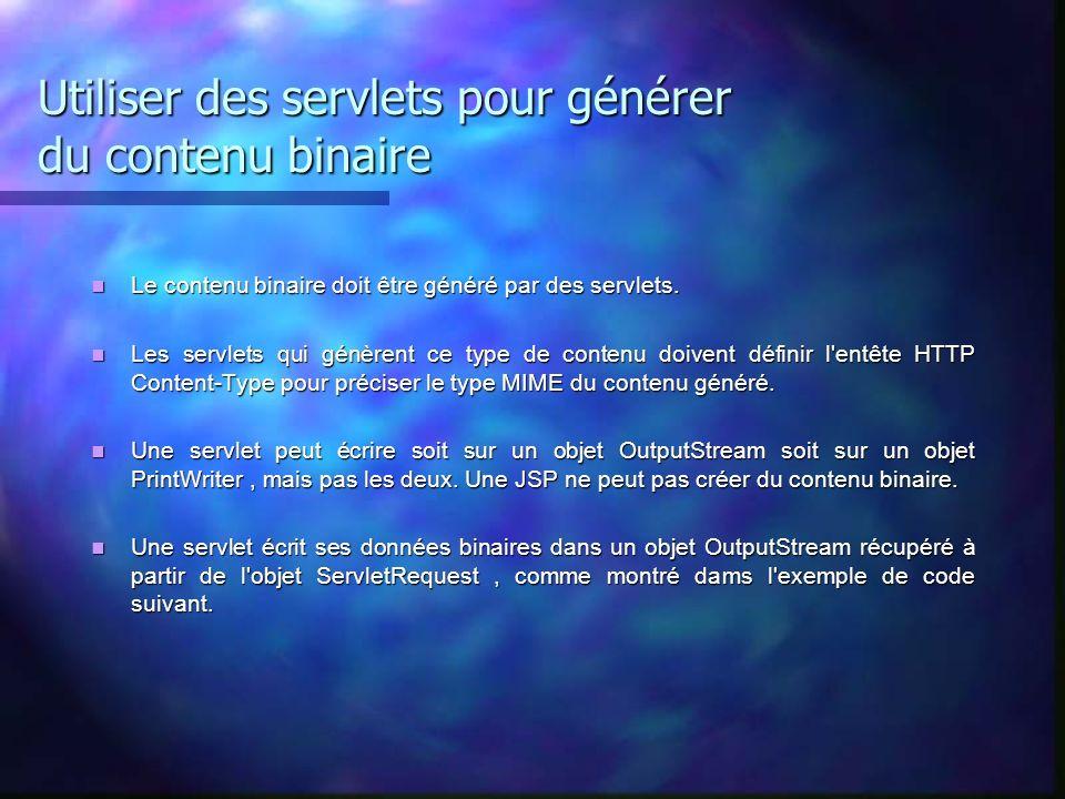Utiliser des servlets pour générer du contenu binaire Le contenu binaire doit être généré par des servlets. Le contenu binaire doit être généré par de