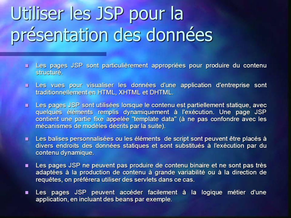 Utiliser les JSP pour la présentation des données Les pages JSP sont particulièrement appropriées pour produire du contenu structuré. Les pages JSP so