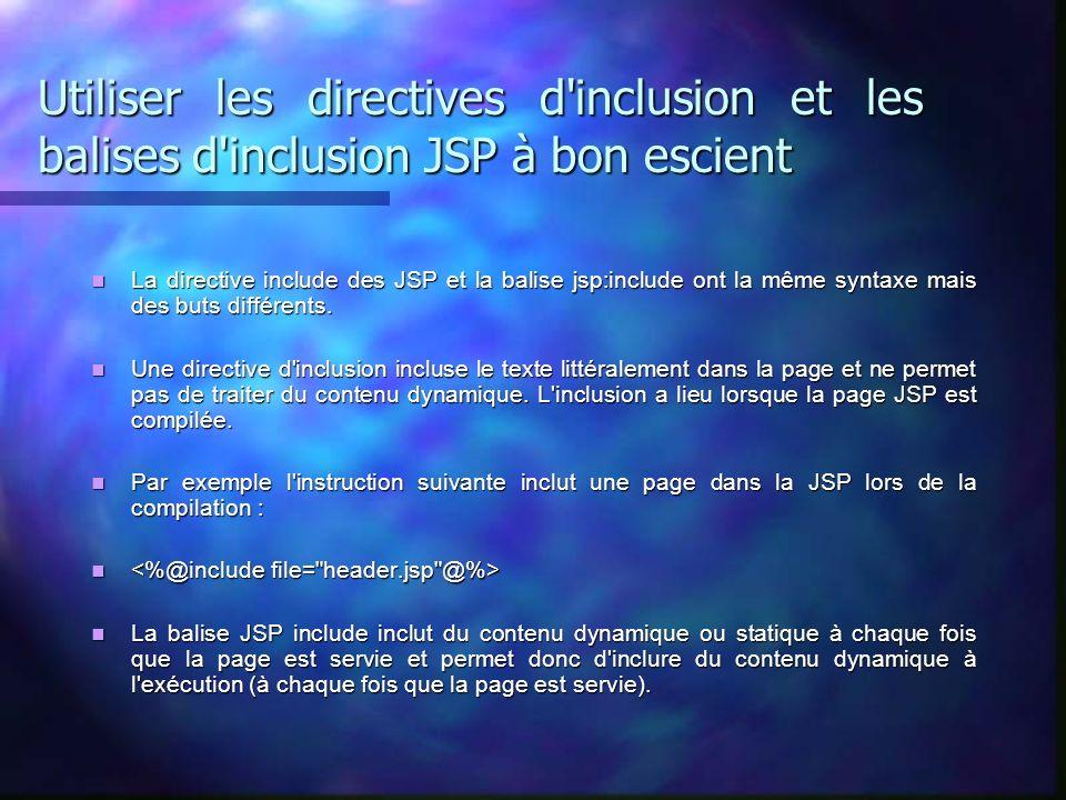 Utiliser les directives d'inclusion et les balises d'inclusion JSP à bon escient La directive include des JSP et la balise jsp:include ont la même syn