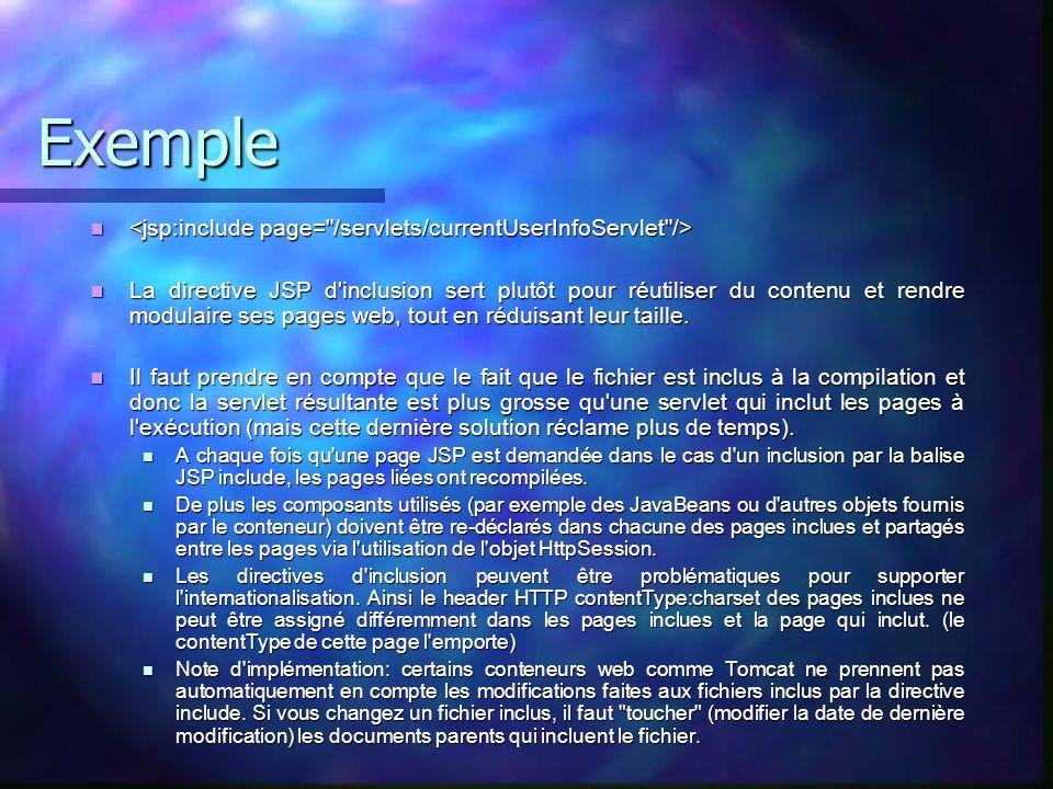 Exemple La directive JSP d'inclusion sert plutôt pour réutiliser du contenu et rendre modulaire ses pages web, tout en réduisant leur taille. La direc