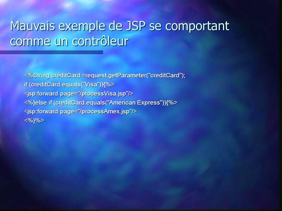 Mauvais exemple de JSP se comportant comme un contrôleur <%String creditCard =request.getParameter(