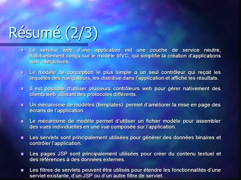 Résumé (2/3) Le serveur web dune application est une couche de service neutre, habituellement conçu sur le modèle MVC, qui simplifie la création dappl