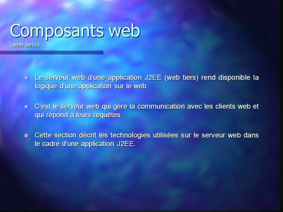 Composants web (web tiers) Le serveur web dune application J2EE (web tiers) rend disponible la logique d'une application sur le web. Le serveur web du
