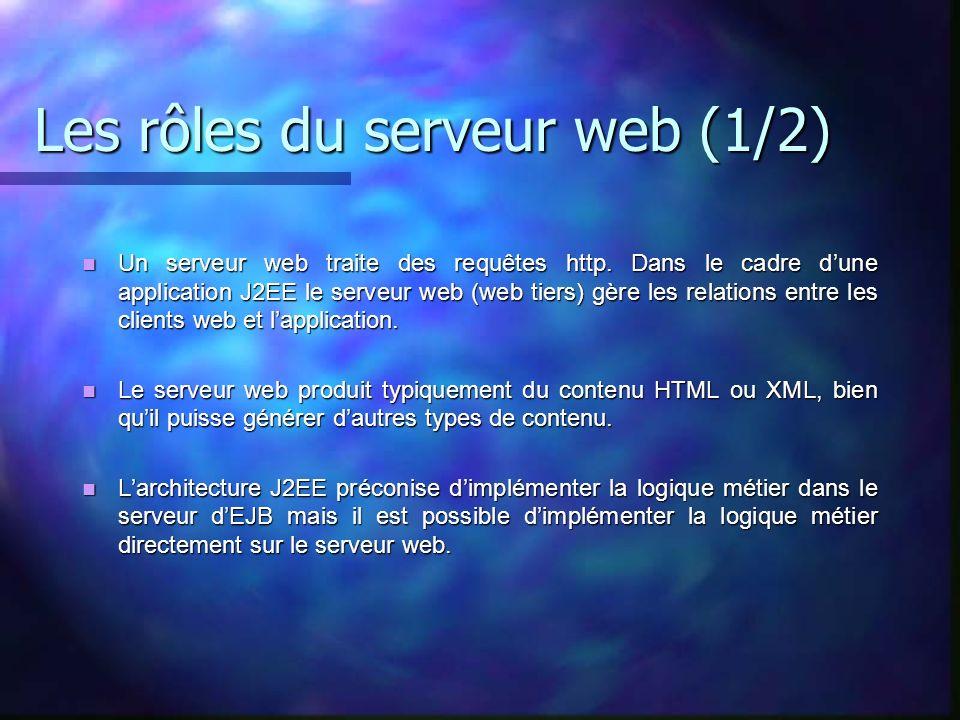 Les rôles du serveur web (1/2) Un serveur web traite des requêtes http. Dans le cadre dune application J2EE le serveur web (web tiers) gère les relati