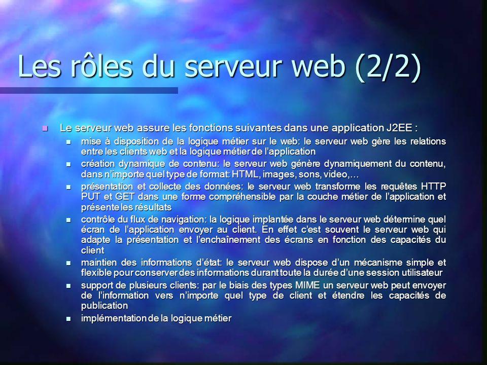 Les rôles du serveur web (2/2) Le serveur web assure les fonctions suivantes dans une application J2EE : Le serveur web assure les fonctions suivantes