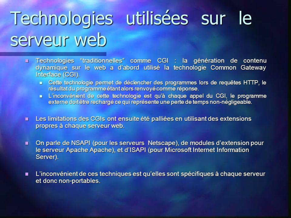 Technologies utilisées sur le serveur web Technologies traditionnelles comme CGI : la génération de contenu dynamique sur le web a dabord utilisé la t