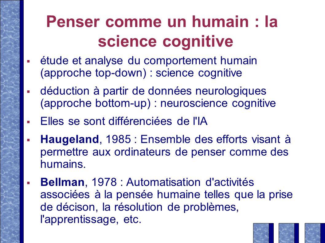 Penser comme un humain : la science cognitive étude et analyse du comportement humain (approche top-down) : science cognitive déduction à partir de do