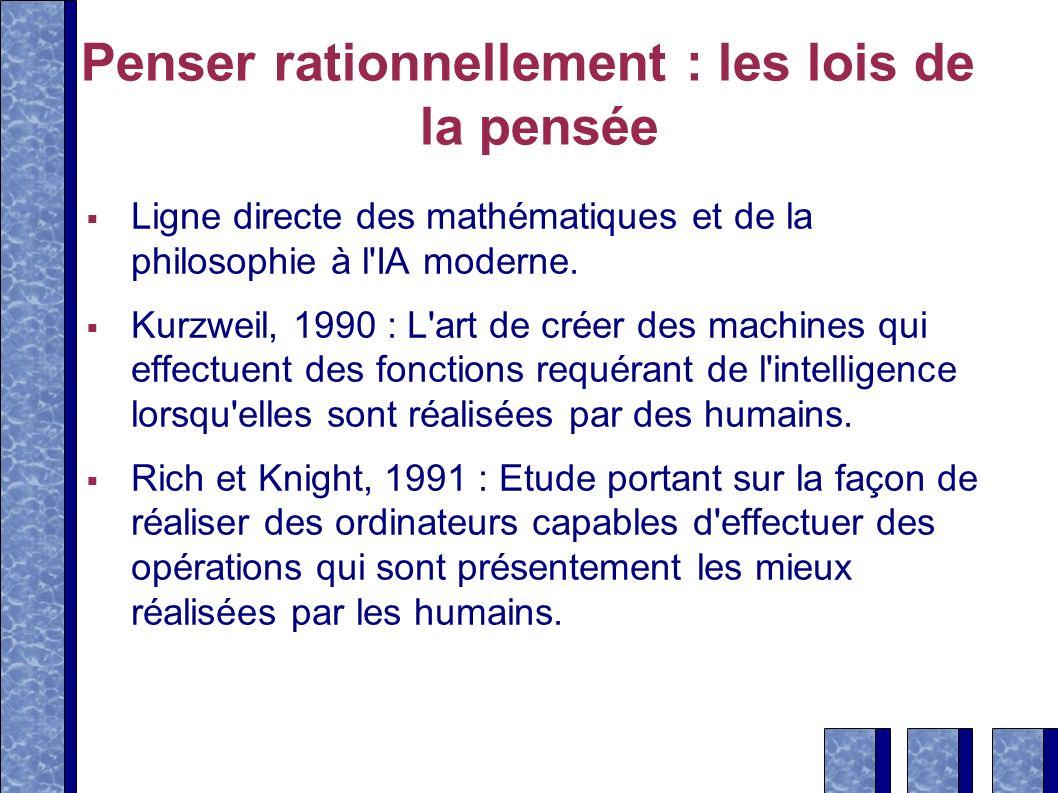 Penser rationnellement : les lois de la pensée Ligne directe des mathématiques et de la philosophie à l'IA moderne. Kurzweil, 1990 : L'art de créer de