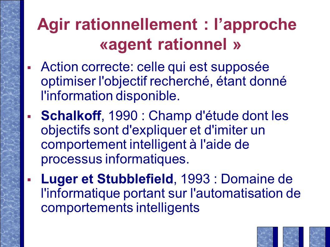 Agir rationnellement : lapproche «agent rationnel » Action correcte: celle qui est supposée optimiser l'objectif recherché, étant donné l'information