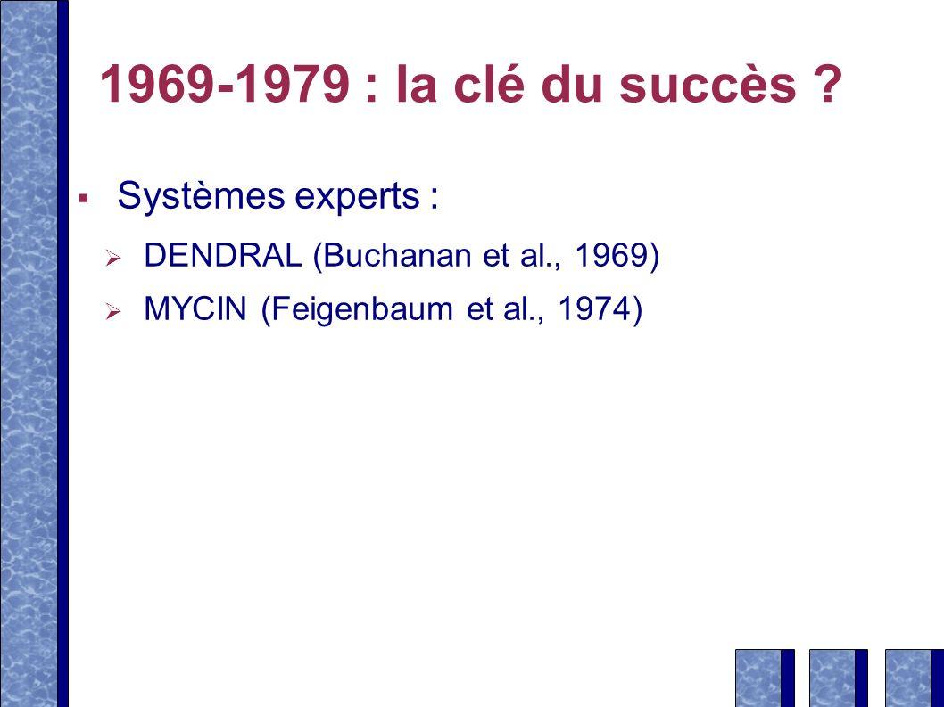 1969-1979 : la clé du succès ? Systèmes experts : DENDRAL (Buchanan et al., 1969) MYCIN (Feigenbaum et al., 1974)
