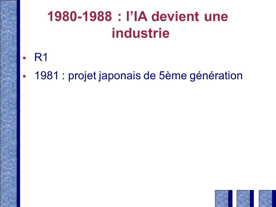1980-1988 : lIA devient une industrie R1 1981 : projet japonais de 5ème génération