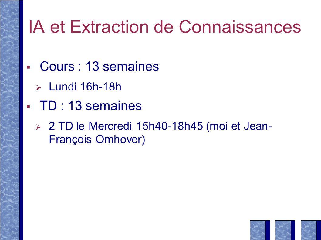 IA et Extraction de Connaissances Cours : 13 semaines Lundi 16h-18h TD : 13 semaines 2 TD le Mercredi 15h40-18h45 (moi et Jean- François Omhover)