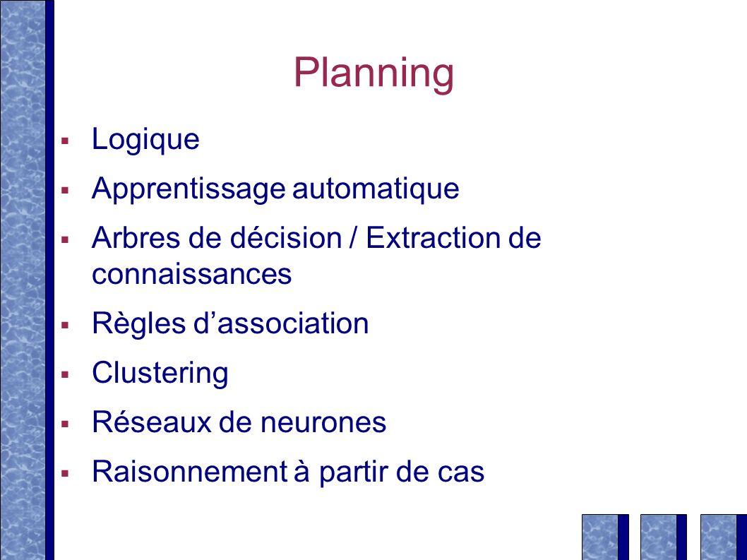 Planning Logique Apprentissage automatique Arbres de décision / Extraction de connaissances Règles dassociation Clustering Réseaux de neurones Raisonn