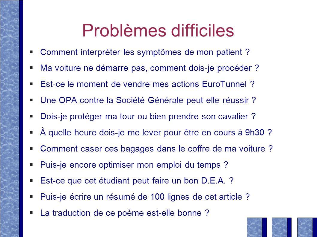 Problèmes difficiles Comment interpréter les symptômes de mon patient ? Ma voiture ne démarre pas, comment dois-je procéder ? Est-ce le moment de vend