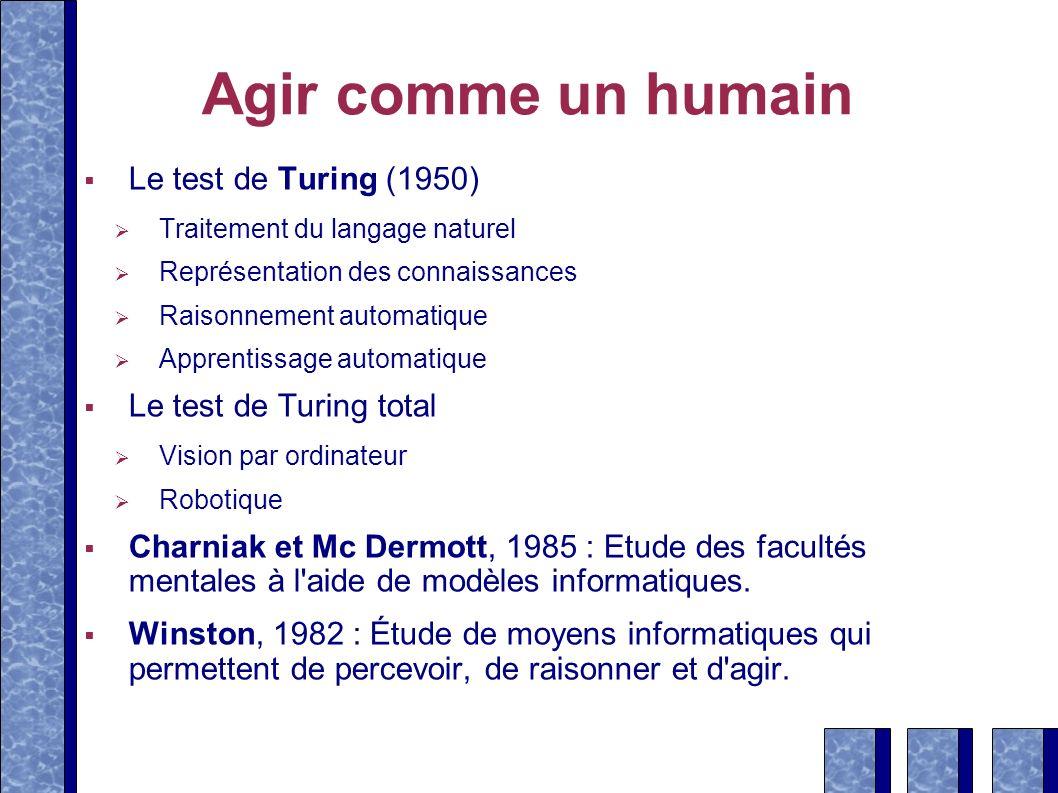 Agir comme un humain Le test de Turing (1950) Traitement du langage naturel Représentation des connaissances Raisonnement automatique Apprentissage au