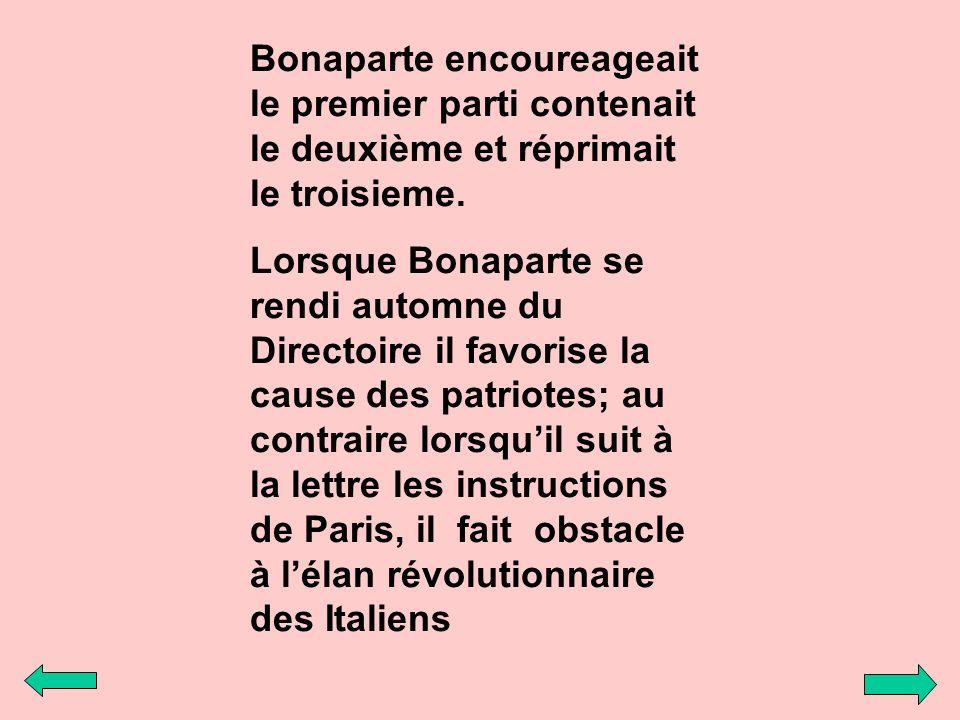 Bonaparte encoureageait le premier parti contenait le deuxième et réprimait le troisieme. Lorsque Bonaparte se rendi automne du Directoire il favorise