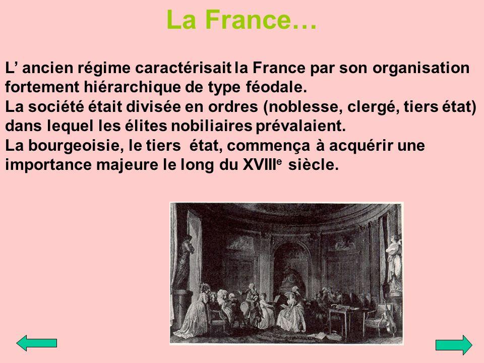 La France… L ancien régime caractérisait la France par son organisation fortement hiérarchique de type féodale. La société était divisée en ordres (no