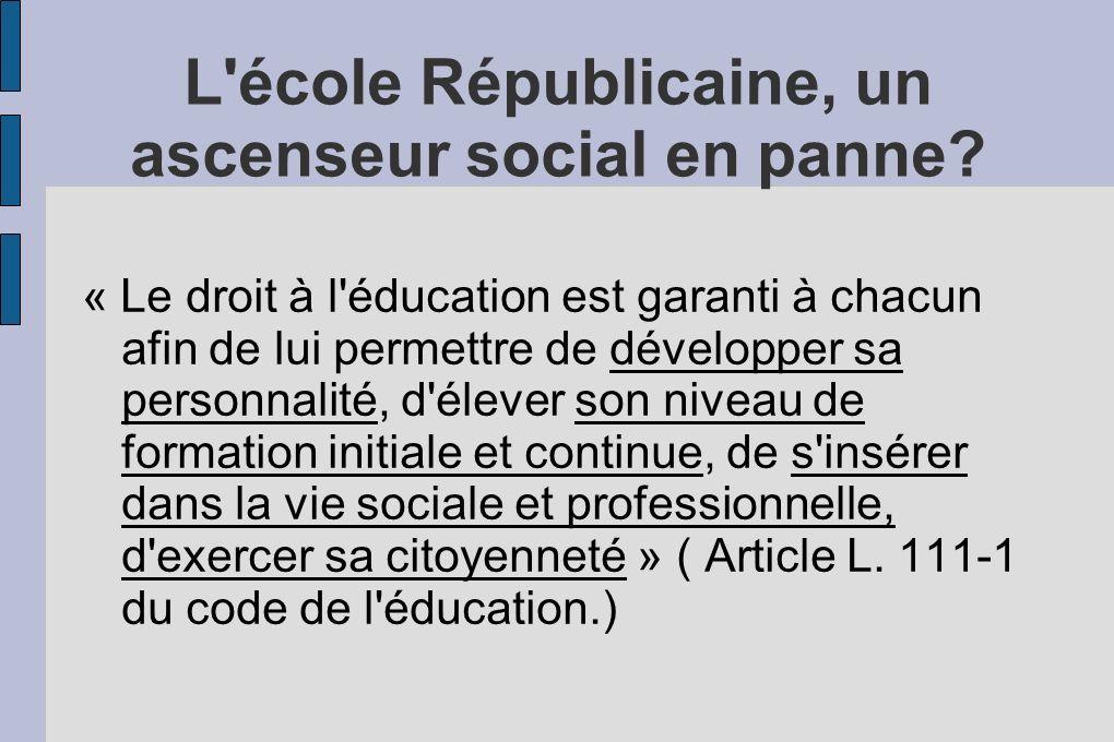 L'école Républicaine, un ascenseur social en panne? « Le droit à l'éducation est garanti à chacun afin de lui permettre de développer sa personnalité,