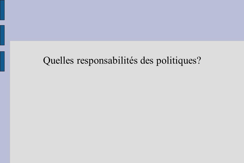 Quelles responsabilités des politiques?
