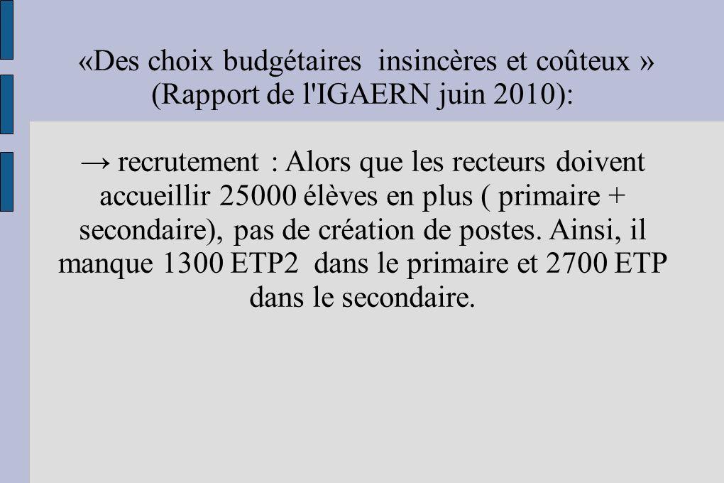 «Des choix budgétaires insincères et coûteux » (Rapport de l'IGAERN juin 2010): recrutement : Alors que les recteurs doivent accueillir 25000 élèves e